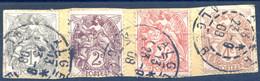 France N°107, 108, 109 Et 110 TAD ALGER, Alger 23.8.1908 Sur Fragment - (F1914) - 1900-29 Blanc