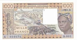 Billet Neuf De  1000 Francs - Etats D'afrique De L'ouest - Cote D'ivoire 1981 A - D 001 -  010174 - - Côte D'Ivoire