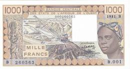 Billet Neuf De  1000 Francs  - Etats  De L'afrique  De L'ouest -  Benin  1981 B - B 001 -  260563 - - Benin