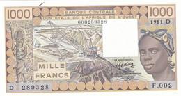 Billet Neuf De  1000 Francs  - Etats De L'afrique De L'ouest - Mali  1981 D - F 002 -  289328 - - Mali