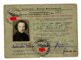 GG Ostbahn: Personenausweis Ehefrau Lemberg 1942 - Occupation 1938-45