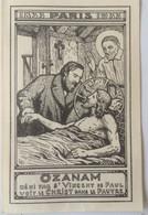 Frédéric Ozanam Béni Par St Vincent De Paul Voit Le Christ Dans Le Pauvre. 1833-1933. 11.5 X 7.5 Cm - Santini