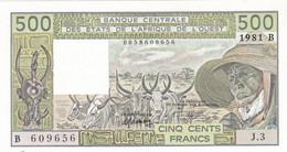 Billet Neuf De  500 Francs - Etats D'afrique De L'ouest - Benin 1981 B - J 3 -  B 609656  - - Benin