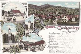 ZWINGENBERG A.d. BERGSTRASSE - DARMSTADT - HESSEN - DEUTSCHLAND - LITHO-ANSICHTKARTE - 1897. - Darmstadt