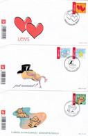 3 Enveloppes FDC 3401 à 3405 Timbres De Circonstance Love Just Married Naissance Velaine-sur-Sambre - 2001-10