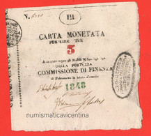 Palmanova 3 Lire 1848 Assedio Siege Österreicher Belagerung Lombardo Veneto Assegnato Assignè ISSUE Provisional - Austrian Occupation Of Venezia