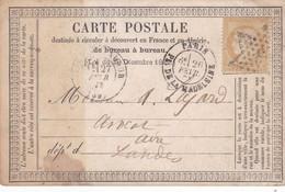 Céres N°59 Sur Carte Précurseur De  Paris Pour Aire/Adour Oblitéré étoile 1873 - 1871-1875 Ceres