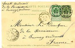 1896 Postkaart Van ST Nicolas Naar FUMAY Ardennes France -  Zie Convoyeur Stempel + Ak Stempel - See Cancellations - Cartoline [1871-09]