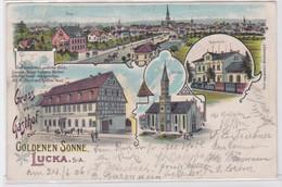 95848 Ak Lithographie Gruß Vom Gasthof Zur Goldenen Sonne Lucka S.-A. 1906 - Zonder Classificatie