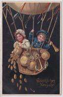 87823 Neujahrs Ak Kinder Im Ballon Verstreuen Münzen 1914 - Año Nuevo