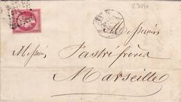 23174# EMPIRE N° 17B LETTRE Obl PARIS J * J 1862 Pour MARSEILLE BOUCHES DU RHONE - 1849-1876: Klassieke Periode