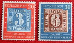 SEE PICTURES  3 Pf + 6 Pf 100 Jahre Deutsche Briefmarken Mi 114-115 Y&T 2B 2C 1949 Ongebruikt/ MH Germany BRD Allemange - Ongebruikt