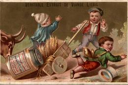 Chromo Ancien Publicitaire XIXème Liebig Véritable Extrait De Viande Liebig Enfants Taureau - Liebig