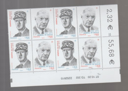 FRANCE / 2020 / Y&T N° 5444/5445 ** : Diptyque Général De Gaulle X 4 - Coin Daté 2020 10 02 (renversé) - TD 202 - 2010-....