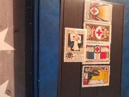 Lot De 5 Vignettes Croix Rouge Bon état Union Des Femmes De France  1 Oblitérée - Croix Rouge