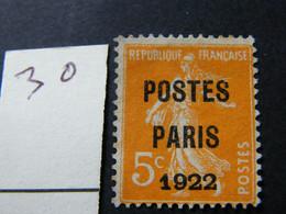 Preo   No 30 Neuf * Sg - 1893-1947