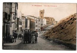 PERPIGNAN RUE DES REMPARTS CARTE COULEUR TRES ANIMEE - Perpignan