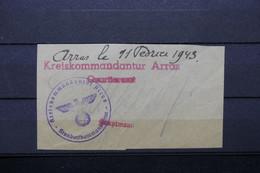 FRANCE / ALLEMAGNE - Cachet De La Kreiskommandantur De Arras En 1943 Sur Fragment -  L 91584 - Oorlog 1939-45