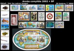 WALLIS ET FUTUNA Année Complète 2002 + BF - Yv. 565 à 587 + BF 11 ** MNH  Faciale= 33,90 EUR - 26 Timbres ..Réf.W&F23099 - Full Years