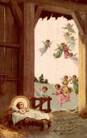 CPSM Heureux Noël : Anges Venant Voir Jésus - Anges