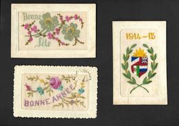 Lot De 3 Cartes, Bonne Année, Bonne Fête, Guerre 1914-15 - Bordados