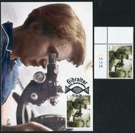 GIBRALTAR (2020). Carte Maximum Card + Stamp Birth Anniversaires Rosalind Elsie Franklin, Microscope Biology Laboratory - Gibraltar