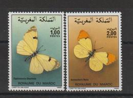 Maroc 1986 Papillons 1017-1018 2 Val ** MNH - Maroc (1956-...)