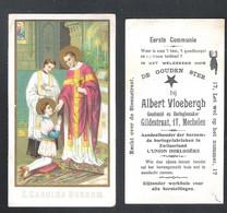 DEVOTIEPRENTJE - RECLAMEDRUKWERK EERSTE COMMUNIE - ALBERT VLOEBERGH - MECHELEN - GOUDSMID EN HORLOGIEMAKER (DV 070) - Devotion Images