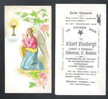 DEVOTIEPRENTJE - RECLAMEDRUKWERK EERSTE COMMUNIE - ALBERT VLOEBERGH - MECHELEN - GOUDSMID EN HORLOGIEMAKER (DV 071) - Devotion Images