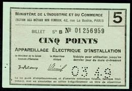 """Coupon D'achat 1949 """" Cinq Points Appareillage Electrique D'installation """" Carte Ravitaillement L - Specimen"""