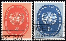 UNITED NATIONS IN NEW YORK - Scott #63-64 U.N. Seal / Used Stamp (k5663) - Gebraucht