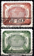 UNITED NATIONS IN NEW YORK - Scott #67-68 Human Rights Day / Used Stamp (k5665) - Gebraucht