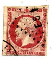 Timbre Napoléon III  N° 17 Ad Vermillon  Fonçé Avec Losange ES1 + CAD De Paris  Cote  620 €  (T 149) - 1853-1860 Napoleon III