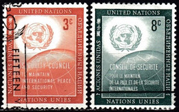 UNITED NATIONS IN NEW YORK - Scott #55-56 U.N. Security Council / Used Stamp (k5652) - Gebraucht