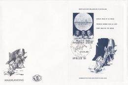 Enveloppe FDC 1509 Bloc 46 Astronaute Lune Apollo XI Espace Fusée Koksijde - 1961-70