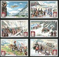6 Sammelbilder Liebig, Serie Nr.: 1073, Memorables Passages Des Alpes, Heinrich IV., Hannibal, Napoleon, Flieger Chavez - Liebig