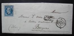 Lyon A 1857 Lettre Pour Le Maire De Cessieu, Arrondissement De Bourgoin (Isère) - 1849-1876: Période Classique