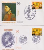 FDC-CM-Carte Maximum # France-Venezuela 2009 #(N° Yv.t 4408)Francisco De Miranda #Émission Commune,Joint Issue, (2FDC) - 2000-09