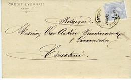 España 1881 Carta De MADRID 25c Azul Palido  Ambulante BURGOS   Hasta Belgica  EL734 - Cartas