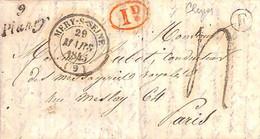 "CURSIVE 9 Plancy + T14 MERY-S-SEINE + BR F ""RHEGES"" DU 29 Mars 1845 - 1801-1848: Precursors XIX"