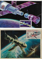 Czechoslovakia Romania 1981 1986 2 Maximum Card Astronautics Salyut Space Station Soyuz Spacecraft - Europa
