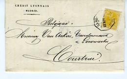 España 1881 Carta De MADRID 50c Naranja   Ambulante  NORTE   Hasta Belgica  EL740 - Cartas