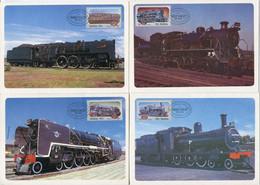 Südafrika South Africa Mi# 630-3 Offizieller Maxikarten-Satz/official Set Maxicards - Transport Railway - FDC