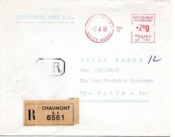 MARNE / HAUTE Dépt N° 52 = CHAUMONT RP 1968 = EMA Muette ' ? De Guichet ' + AR + Recommandé - EMA (Printer Machine)