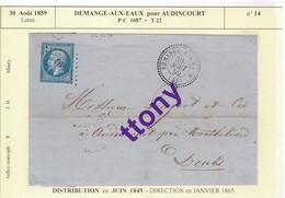 Une Lettre Année 1859 Demange-Aux-Eaux Pour Audincourt P.C 1087 + T 15 Timbre N° 14 Indice Marcoph 9 - 1849-1876: Classic Period