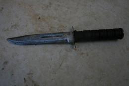 COUTEAU POIGNARD DE COMBAT STYLE US A IDENTIFIER POIGNEE ENCUIR ANCIEN LONGUEUR 30 CM, 3 MM - Knives/Swords