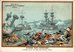 Chromo Chocolat D'Aiguebelle - Guerre Sino-Japonaise Combat Naval Du Yalu ( 25 Octobre 1894 ) Texte Au Dos TB.Etat - Aiguebelle