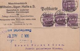 ALLEMAGNE  1923 CARTE INFLA DE HALLE - Infla