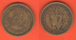 Ceylon British Territory  50 Cents 1943 King George VI - Other - Asia
