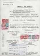 FISCAUX  MONACO SERIE UNIFIEE  7 Timbres Sur Certificat De Domicile De 1990 à 1999 - Fiscale Zegels